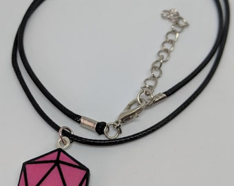 D20 Dice Pendant Necklace Pink with Adjustable Cord
