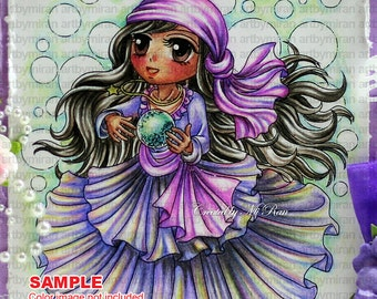 Digital Stamp - Mystica(#133),  Digi Stamp, Coloring page, Printable Line art for Card and Craft Supply