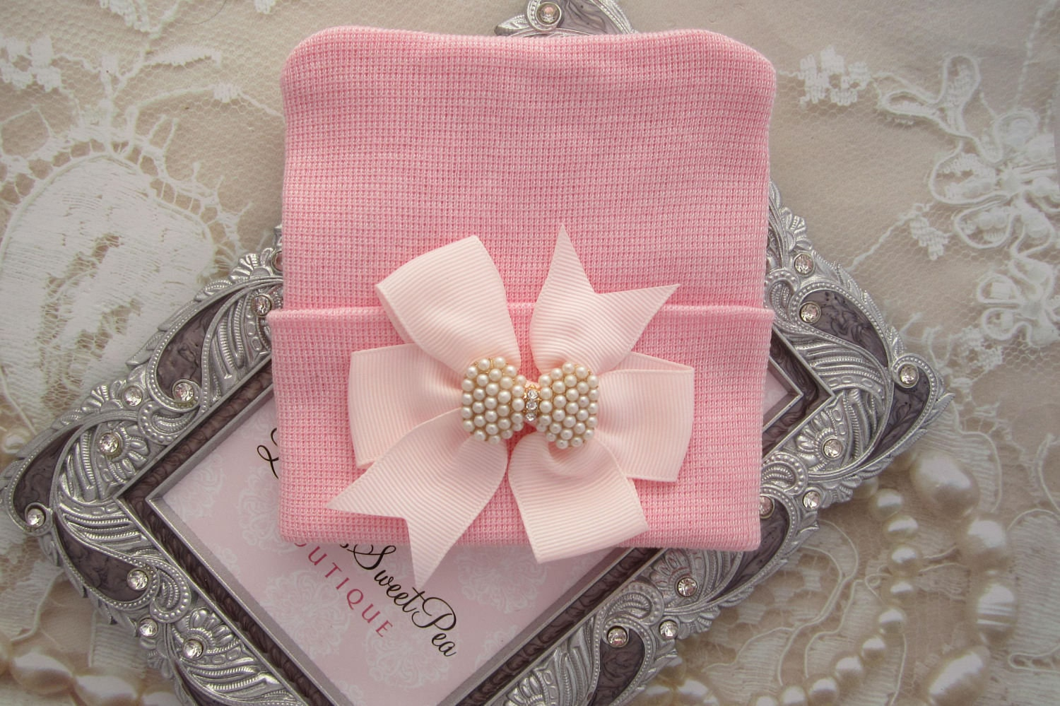 Pink Newborn Hospital Hat with a Pink Grosgrain Bow Adorned