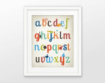 Boys Nursery Alphabet Print - Playroom Decor - ABC Alphabet Picture - Boys Room Wall Art - Baby Shower Gift Idea - Preschool Poster #203