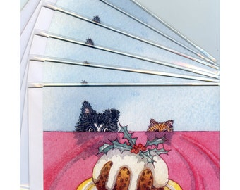 6 x Border Collie dog Christmas holiday cards ginger cat conspiring Xmas pudding plotting tabby holly season's greetings by Susan Alison