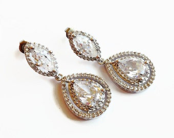 Wedding Earrings - Marquis Teardrop Bridal Earrings - Wedding Jewelry - Bridal Earrings - Cubic Zirconia Earrings - Bridesmaid Gift