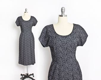 Vintage 1950s Dress - Grey Wool Embroidered Wiggle Fitted Day Dress 50s - Small