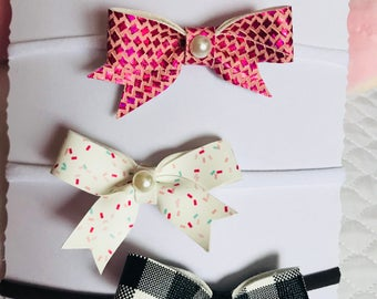 pink candy black bows