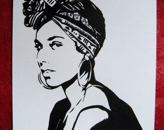 Alicia Keys portrait original painting stencil feminist women