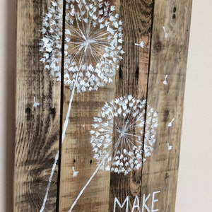 Dandelion Pallet Art - Rustic Wood - Pallet Canvas - Acrylic Pallet Art - Reclaimed Pallet Art - Art on Wood - Dandelion Painting