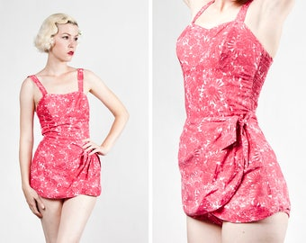 Vintage 1950s Floral Cotton Sarong Skirted Swimsuit / Playsuit