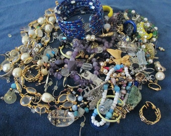 Vintage Broken Jewelry Altered Art Mixed Media Assemblage Beads