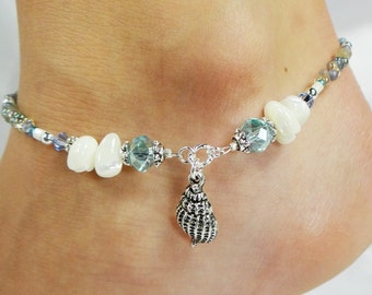Anklet, Ankle Bracelet, Sea Shell Anklet, Aqua Anklet, Beach Anklet, Blue Anklet, Crystal Anklet, Beaded Anklet, Ankle Jewelry Beach Jewelry
