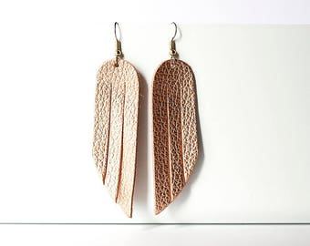 Leather Earrings / Fringe / Soft Copper