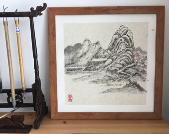 Original Chinese Landscape Painting with Brush Ink and Color on Paper