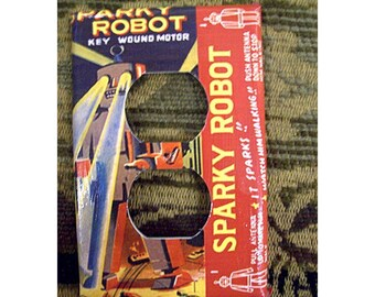robot outlet switch plate cover retro vintage Fifties tin toy light switch kitsch