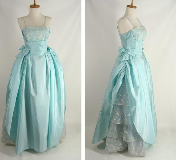 vintage 50s Prom Dress. Pastel Blue. Seafoam Green. Shelf