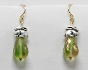 Handmade Earrings Green Glass  Beads Silver Pewter Bunny Rabbits Easter earrings Spring Earrings Brass Earwires Oscarcrow