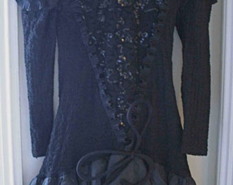 Evening dress with black pearls and baggy skirt t36