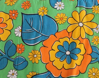 Vintage 1960s Cotton Canvas Fabric: Bright Orange, Yellow, Blue, and Green Groovy Floral Print 4 Yards