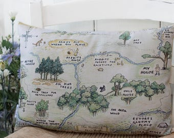 Winnie the Pooh Map Complete Pillow Hundred Acre Wood Classic Pillow in 3 sizes for a classic Pooh Nursery or Winnie the Pooh gift