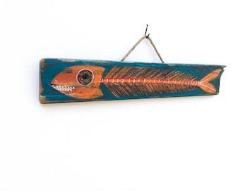 Fish Art Handmade on Reclaimed Wood Fish Shack Beach House Decor Fisherman Lake House Fishing Kids Room Beach Art Fish Wall Art Mangoseed
