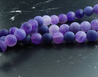 Purple frosted agate 8mm, set of 10 beads