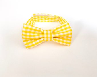 Yellow checked Bow Tie ~ Baby Bow tie ~Yellow and white bow ~ Daddy and me bow tie~ page boy bow tie~ wedding bow tie~ Spring bow~ groomsmen
