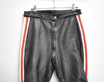 Vintage KRAWEHL LEATHER PANTS , women's motorcycle leather pants .................(082)