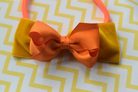 Fall mustard yellow and orange - Baby / Toddler / Girls / Kids Elastic Hairclip / Hair Barrette / Hairband / Headband / holiday gift