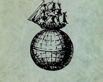 Sailing Ship Atop a Globe of the World - Antique Style Clear Stamp