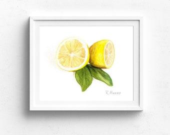 Watercolor Lemon PRINT, Lemon Illustration, Kitchen Wall Art, Dining Room Art, Food Painting, Food Illustration, Lemon Painting, Fruit