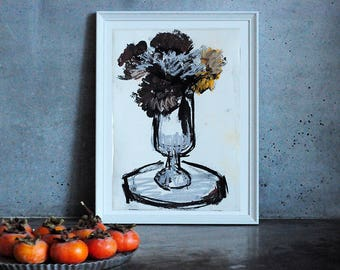 Mood with colors, Flowers in vase, Modern art, Wall Art Print, Home Decor, Fine art painting