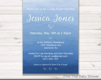 Baby Shower Invitation - Blue Ombre Watercolor Baby Shower - Printable Invitation - Baby Shower Invites - Invitation - Blue Ombre Watercolor