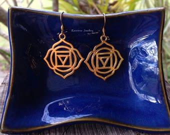 Root Chakra Earrings. Chakra Earrings. Gold Chakra. Hypoallergenic.Boho earrings. Festival earrings.Yoga earrings.Beach jewelry.Gift for her