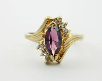 Vintage Amethyst Marquise Statement Ring - Size 6 Ring - VPE214