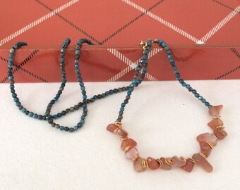 Coral, Turquoise, Gold, Long, Beaded, Necklace