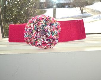 Flower cinch belt, Wide elastic stretch flower corset belt, Pink wide belt, Pink corset belt,3 inch wide stretch belt, three inch wide belt