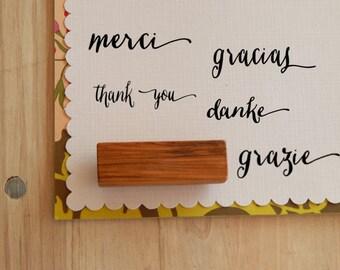 Thank You Gracias Merci Danke Grazie Olive Wood Stamp