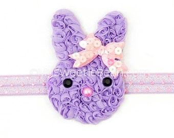 Purple Bunny Headband, Shabby Bunny, Chiffon Bunny Headband, Pink Sequin Bow, Children Holiday, Spring, Lavender, Pink, Baby, Toddlers Girls