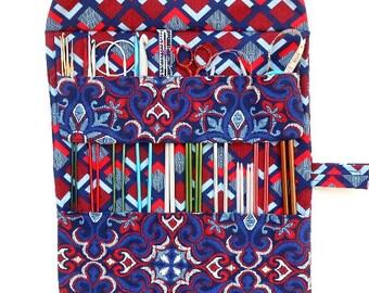 Blue Red Knitting Roll Up, Needle Storage, Straight Needles, Crochet Hook Holder, DPN Organizer, Circular Needle Case, Knitting Supplies
