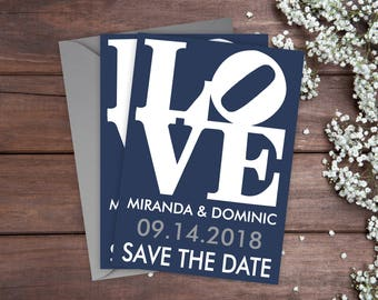 """Save The Date Cards - 5"""" x 7"""" Philadelphia Wedding Announcement Cards - Save The Dates - Personalized Save the Date - Photo Cards - satd-266"""