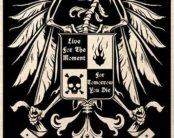 The Dead Phoenix Gothic Macabre Art Print Medieval Heraldry Dark Artwork Memento Mori