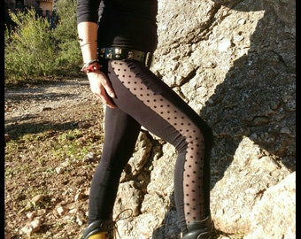 Long Leggings//Black base with circles lace//Alternative, Pixie, Industrial, Punk, Festival,