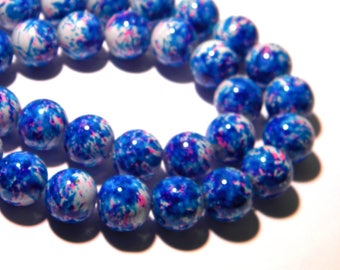 shiny lacquered glass 10 beads - 12 mm - turquoise and fuchsia F125 2