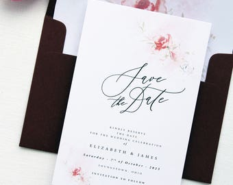 Everly Burgundy Watercolour Save the Date Cards, Calligraphy Elegant Save the Date Cards, Printable File or Printed Cards, Wax Seals