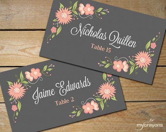 Romantic Floral Editable Place Card Template // DIY Printable Place Cards Wedding // Pink and Grey Wedding Tent Cards