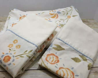 Twin Flat Sheet and 2 Standard Cases, 1970s-1980s, vintage sheets