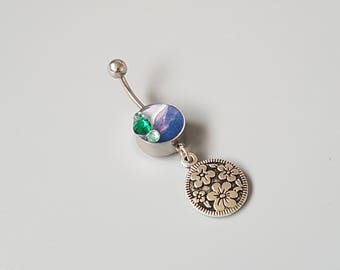 Mountain belly button ring, dangle flower charm, handmade belly bar, photography jewelry, unique belly rings, navel piercing ring, nature