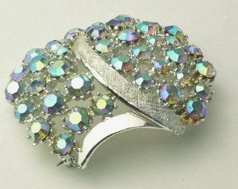 Vintage Brooch Blue Aurora Borealis Rhinestone Large Dome 1950's Costume Jewelry Hollywood Glamour Mid Century Pin Signed ART Gift For Her