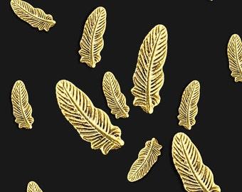 Nail Art Decoration Gold Feather Studs 10 pcs