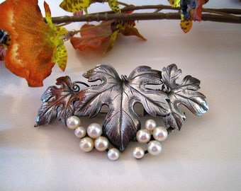 Old Mikimoto Sterling And Cultured Pearl Brooch/Pin - Unusual and Beautiful - Signed