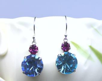 Aquamarine and Fuschia Swarovski Crystal Earrings, dangle drops