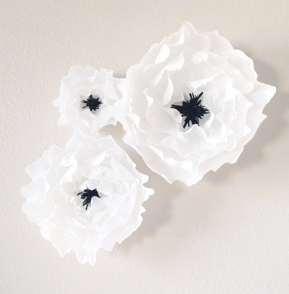 Crepe Paper Peony Wall Flowers with Black fringe Center